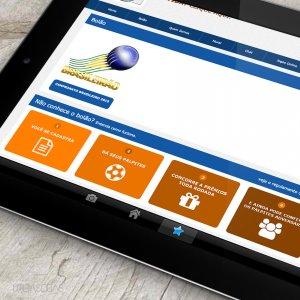 criação de site institucional - mockup iPad 2 - Gurus da Bola