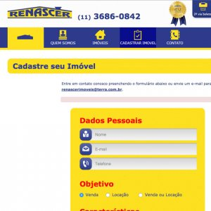 criação de site para imobiliária - página de contato - Renascer Imóveis