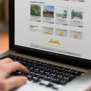 criação de site institucional para imobiliária - mockup Macbook 2 - Gold Imóveis