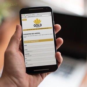 criação de site institucional para imobiliária - mockup celular - Gold Imóveis