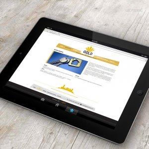 criação de site institucional para imobiliária - mockup iPad - Gold Imóveis