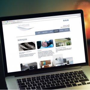 criação de site para empresa de automação - mockup Macbook - Soundless Áudio