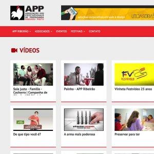 criação de site institucional APP - página de vídeos