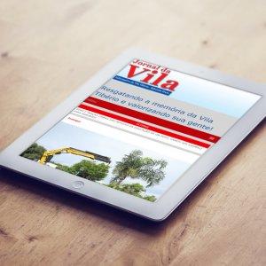 criação de site institucional Jornal da Vila - mockup ipad