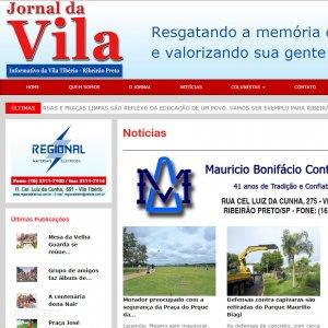 criação de site institucional Jornal da Vila - página inicial