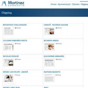 criação de site para assessoria de imprensa - página clipping - Martinez Assessoria