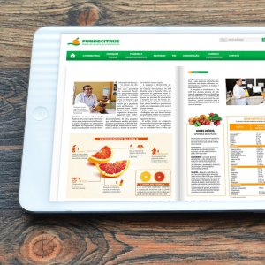 criação de site - mockup iPad - Fundecitrus